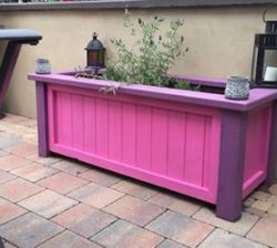timber planter pink