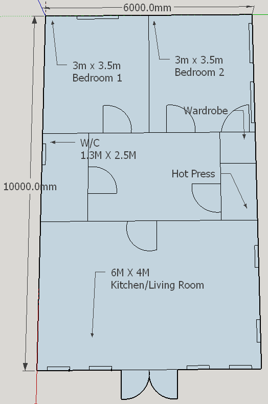 10m X 6m Two Bedroom Home